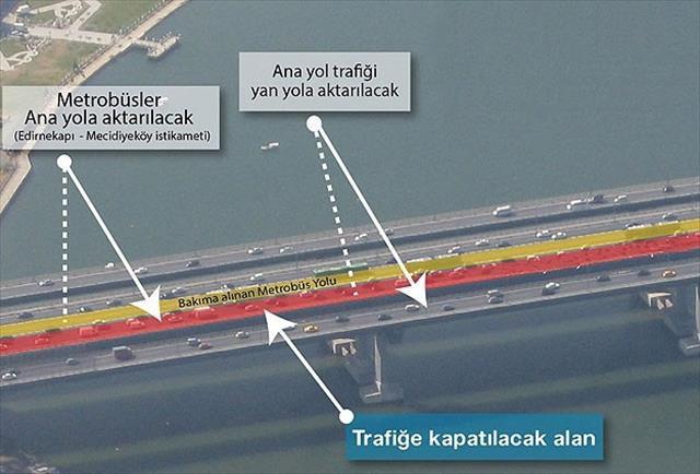 Haliç Köprüsü metrobüs yolunda bakım çalışması başladı