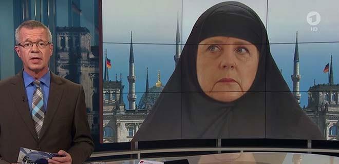 Merkel'e çarşaf giydirdiler