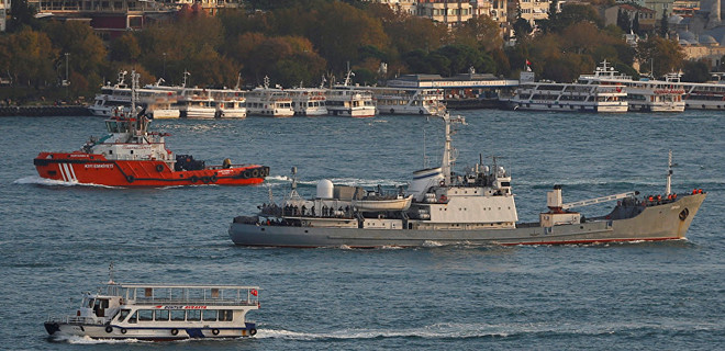 Rus savaş gemisi ile kargo gemisi çarpıştı