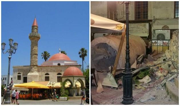 Tarihi caminin minaresi dayanamadı
