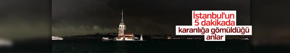 Şiddetli yağış öncesi İstanbul karanlığa gömüldü