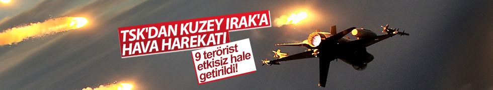 TSK: Kuzey Irak'ta düzenlenen hava harekatında 9 terörist öldürüldü