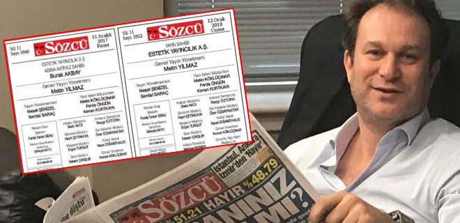 Sözcü Gazetesi'nin künyesinden Burak Akbay'ın ismi çıkartıldı