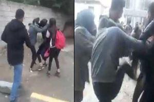 Kız öğrenciler okul çıkışı saç saça, baş başa kavga etti!