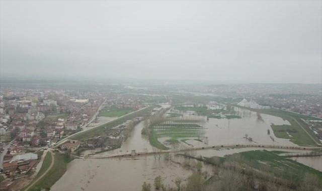 Edirne'de taşkın havadan görüntülendi