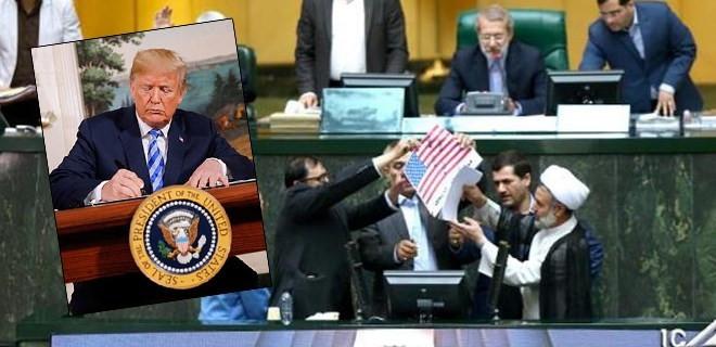 İranlı vekiller ABD bayraklarını yaktı!
