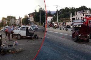 Kazada otomobil ikiye bölündü: 4 yaralı