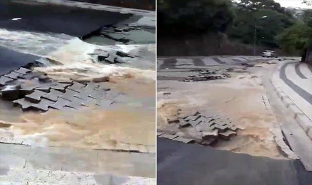 Çengelköy'de yağış nedeniyle yol çöktü