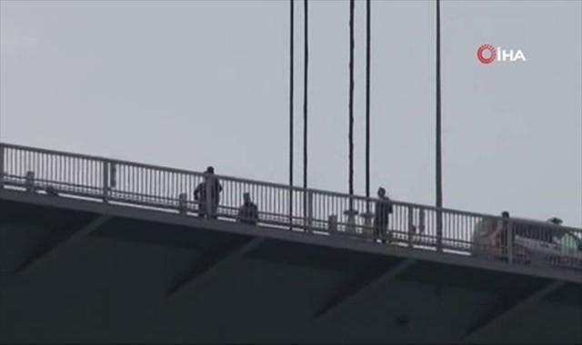 Köprüdeki intihar girişimi havadan görüntülendi