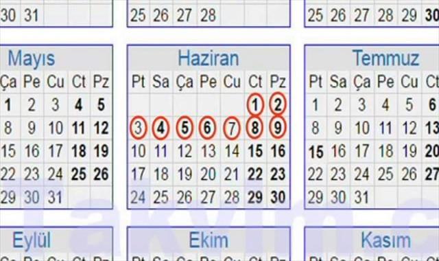 Bayram tatili 9 güne çıkarıldı